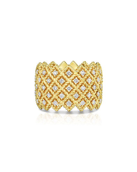 Roberto Coin Barocco Five-Row Ring with Diamonds in 18K Yellow Gold, Size 6.5