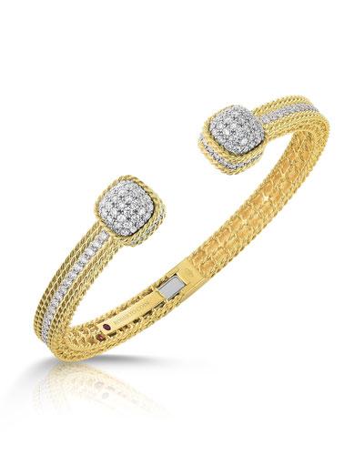 Barocco Diamond Bangle in 18K Gold