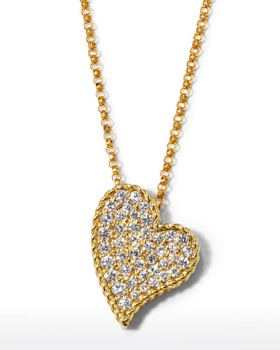 Slanted Heart Diamond Pendant Necklace in 18K Yellow Gold