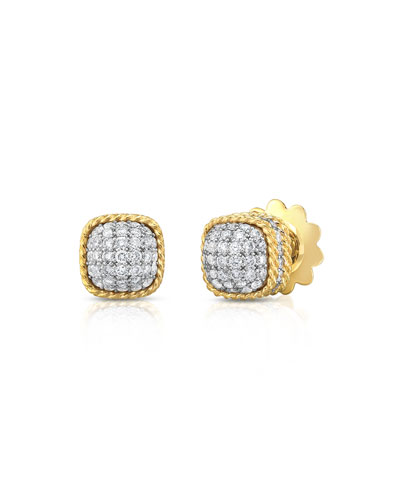 New Barocco Dome Diamond Earrings in 18K Yellow Gold