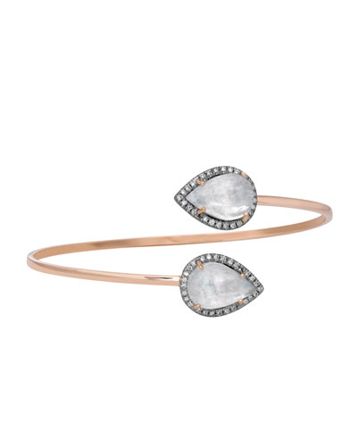 Time Pear-Shaped Moonstone Bypass Bracelet with Diamonds