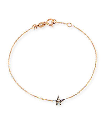 Struck Champagne Diamond Station Bracelet in 14K Rose Gold