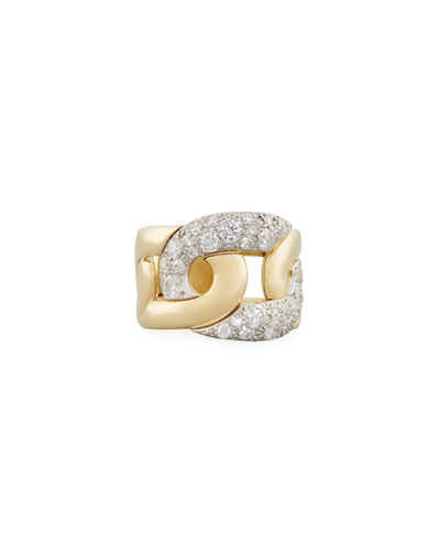 Tango Diamond Link Ring in 18K Gold, Size 54
