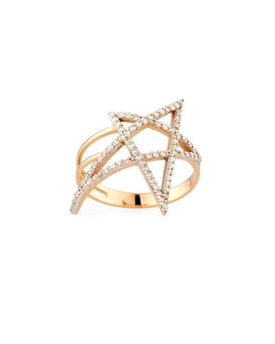 Struck Doodle Star Diamond Ring in 14K Rose Gold