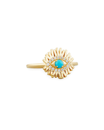 Turquoise Evil Eye Ring with Diamond Halo