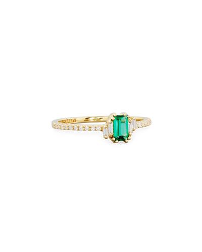 Emerald & Diamond Ring in 18K Gold