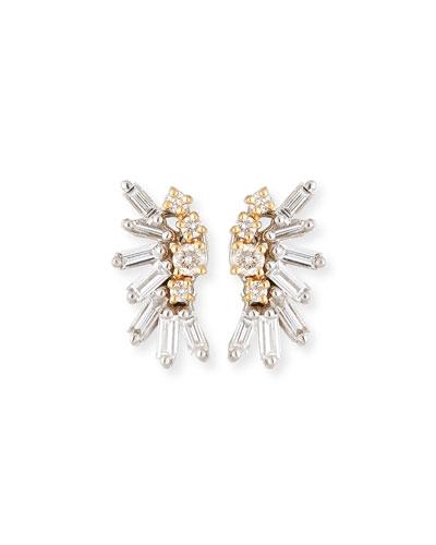 Round & Baguette Diamonds Cluster Earrings