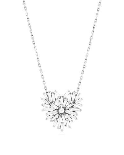Mini Baguette Diamond Heart Necklace in 18K White Gold