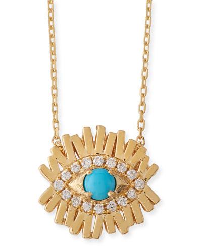 Turquoise & Diamond Evil Eye Bar Necklace
