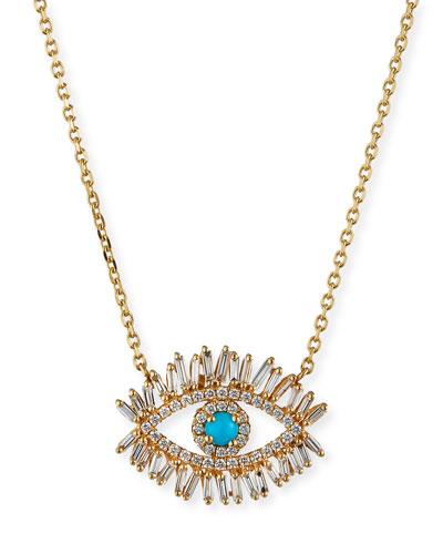 Turquoise & Diamond Halo Pendant Necklace
