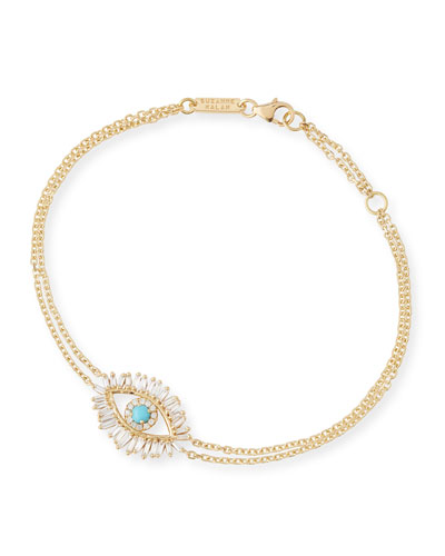 Turquoise & Diamond Evil Eye Bracelet