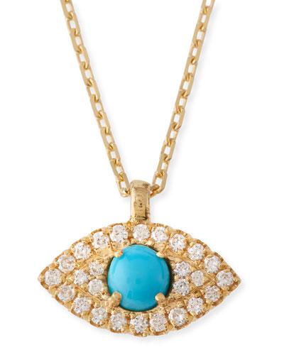 Turquoise & Diamond Evil Eye Pendant Necklace