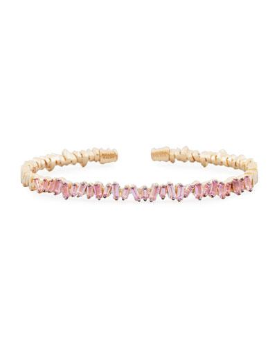Baguette Pink Sapphire Bangle Bracelet in 18K Rose Gold