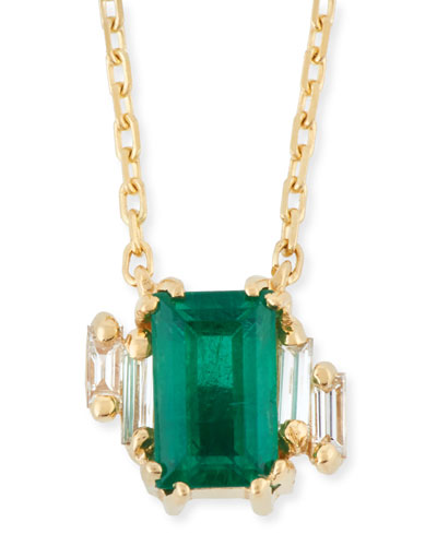 Emerald & Baguette Diamond Pendant Necklace