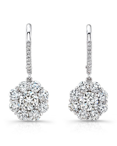 Round Diamond Cluster Drop Earrings