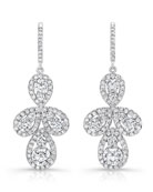 Teardrop Cluster Diamond Drop Earrings