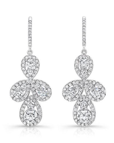 Teardrop Cluster Diamond Drop Earrings
