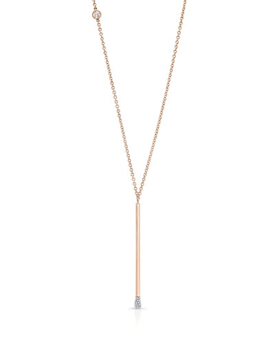 Matchstick Diamond Necklace in 18K Rose Gold