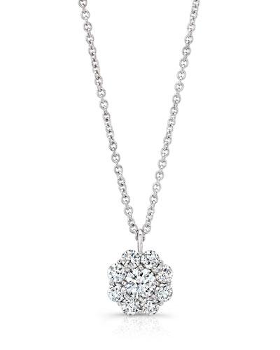 Diamond Cluster Pendant Necklace in 18K White Gold