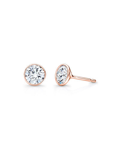 Bezel-Set Diamond Stud Earrings in 18K Rose Gold