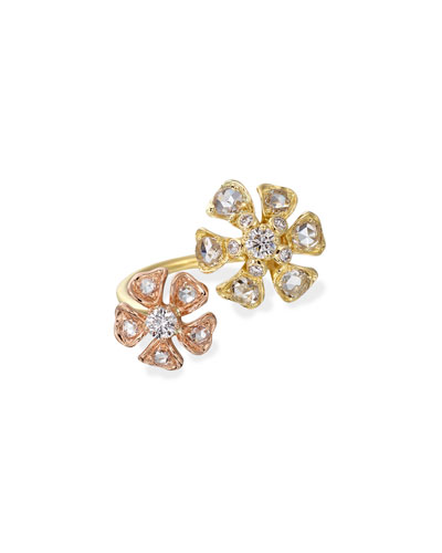 Aster Double-Flower Diamond Ring in 18K Rose & Yellow Gold