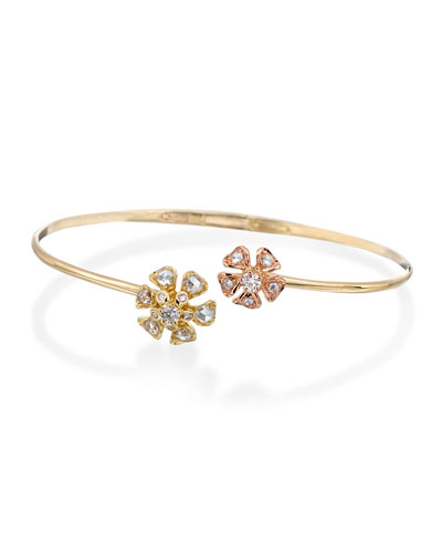 Aster Double-Flower Diamond Bracelet in 18K Rose & Yellow Gold