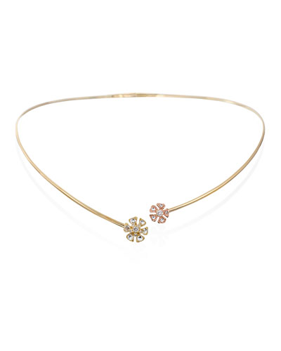 Aster Double-Flower Diamond Collar Necklace in 18K Rose & Yellow Gold