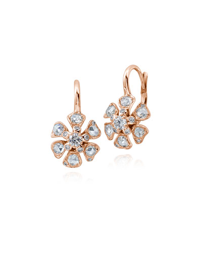 Small Diamond Flower Drop Earrings in 18K Rose Gold