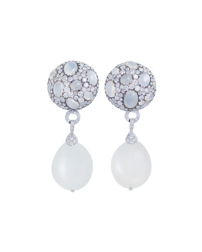 Carnivale Moonstone & Diamond Drop Earrings
