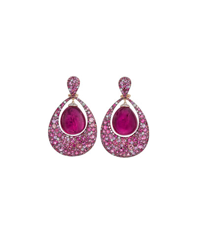 Berrybell Drop Earrings with Rubelite & Diamonds