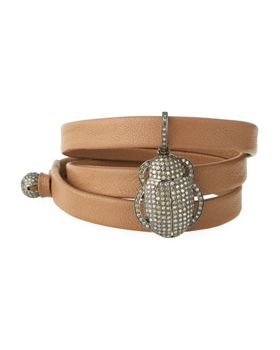 Leather Wrap Bracelet with Pavé Diamond Scarab