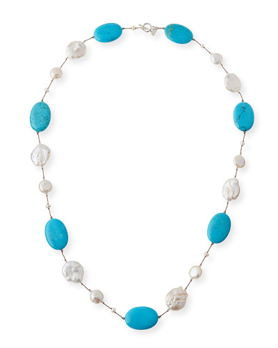 Turquoise & Baroque Pearl Necklace