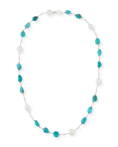 Turquoise & Baroque Pearl Station Necklace