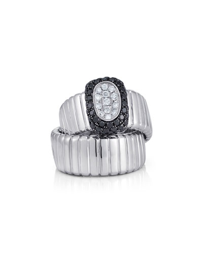 Black & White Diamond Ring in Segmented 18K White Gold