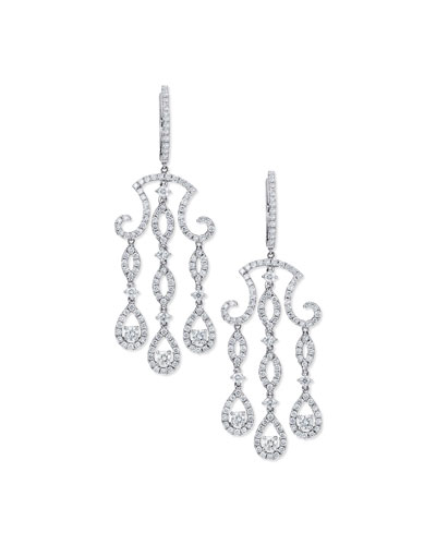 Three-Drop Diamond Chandelier Earrings in 18K White Gold