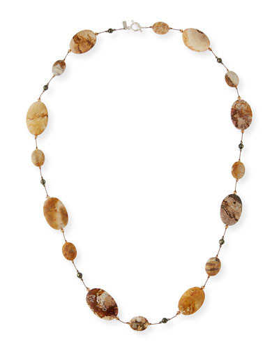 Fossilized Coral & Pyrite Station Necklace