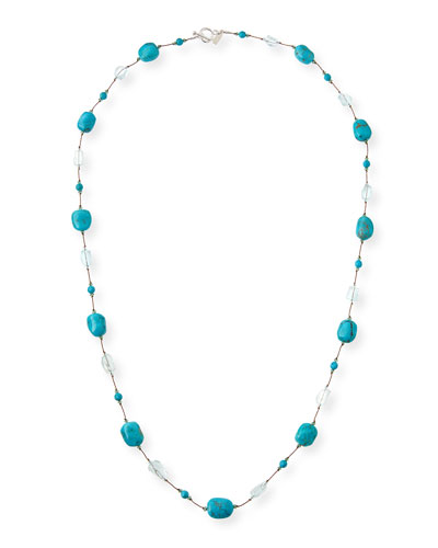 Turquoise & Blue Topaz Station Necklace