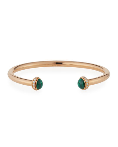 Possession 18K Red Gold & Malachite Cabochon Bracelet with Diamonds, Size L