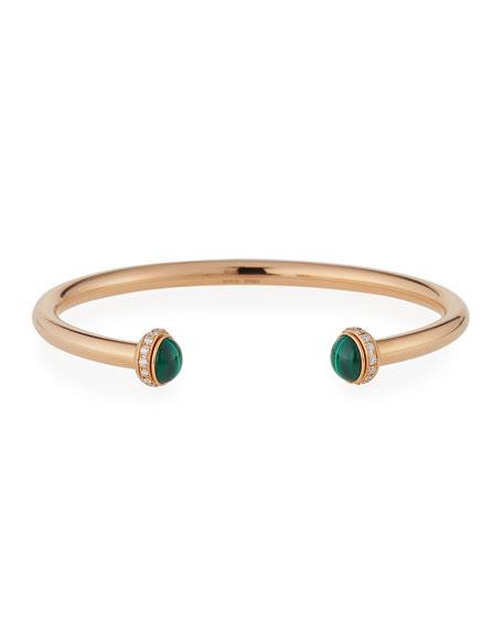 PIAGET Possession 18K Red Gold & Malachite Cabochon Bracelet with Diamonds, Size L