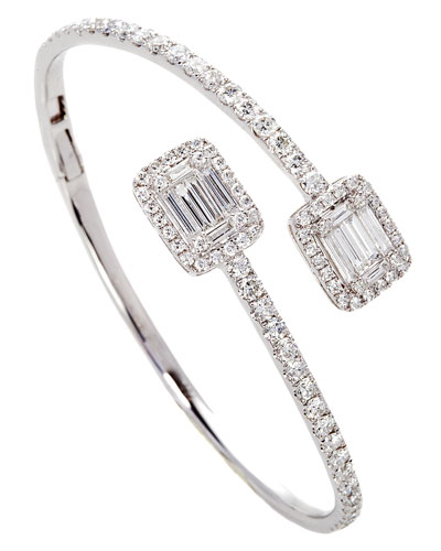Ascension Bypass Cuff Bracelet in 18K White Gold with Diamonds