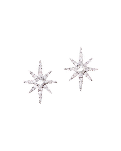 Diamond Starburst Earrings in 18K White Gold