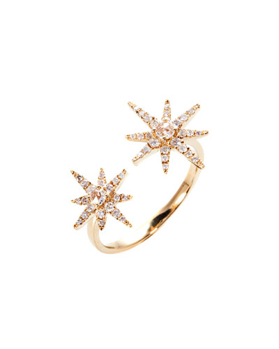 18K Yellow Gold Starburst Ring with Diamonds, Size 7