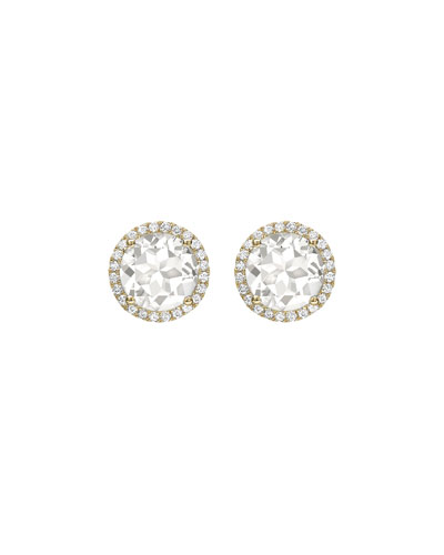 Grace White Topaz & Diamond Halo Stud Earrings in 18K Yellow Gold