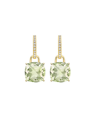 Kiki Classic Cushion Drop Earrings in Green Amethyst