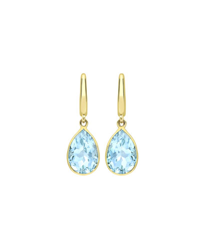 Kiki Classic Pear Drop Earrings in Blue Topaz & 18K Gold