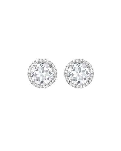 Grace White Topaz & Diamond Halo Stud Earrings in 18K White Gold