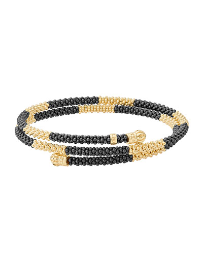Black Caviar & 18K Gold Long Striped Coil Bracelet