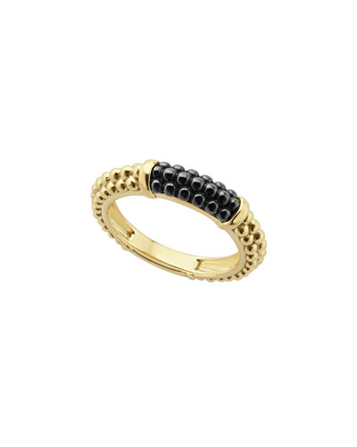 Gold & Black Caviar Collection 18K Gold & Ceramic Ring, Black/Gold