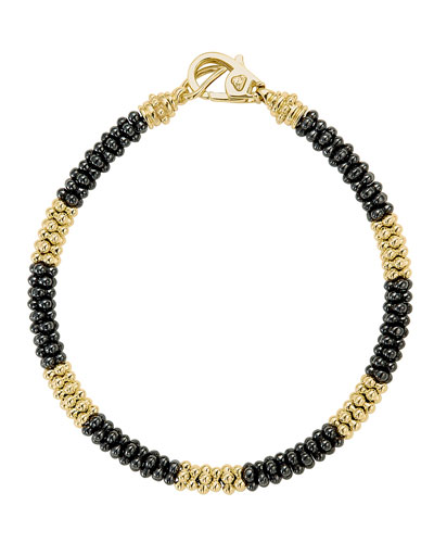 Lagos 3mm Black Caviar & 18K Gold Rope Bracelet