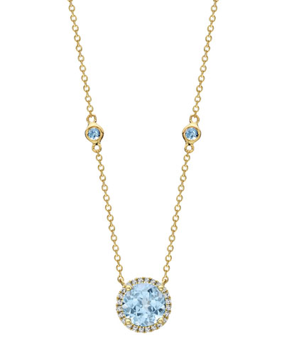 Grace Blue Topaz & Diamond Halo Pendant Necklace